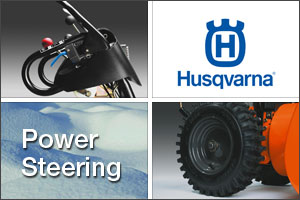 Husqvarna power steering on your snow blower lets you turn on a dime