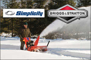 Simplicity snow blowers are powered by Briggs and Stratton Snow Series Engines