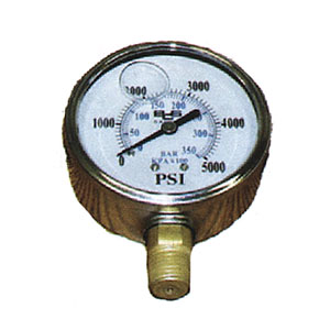 "2427 1/4"" MPT Stainless Steel 5000 PSI Pressure Gauge"