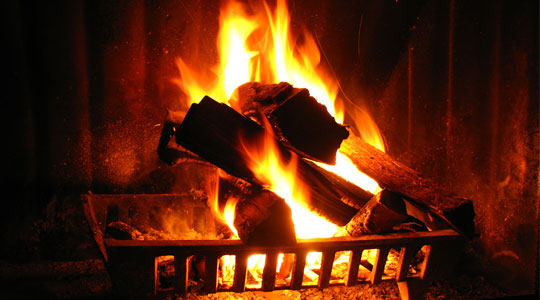 A warm fire, perfect to get a romantic night started