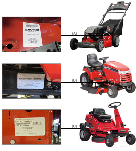 Snapper Mower Model Locator on Snapper Riding Mower Model Number Location